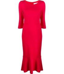 goat kristina peplum-hem midi dress - red
