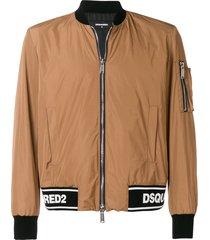 dsquared2 logo ribbed bomber jacket - brown
