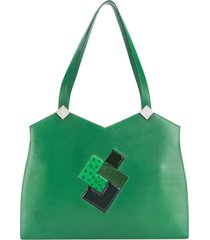 hermès 2000s pre-owned patchwork tote - green