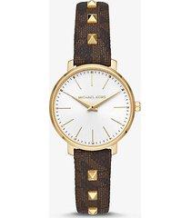 mk orologio pyper mini tonalità oro con cinturino borchiato - marrone (marrone) - michael kors