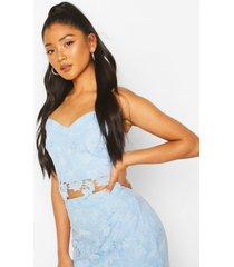 crochet lace top, blue