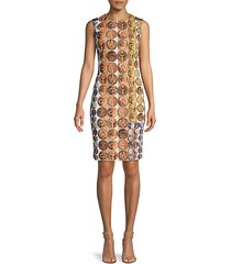 medallion-print sheath dress