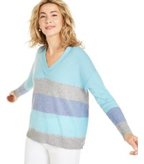 charter club cashmere colorblocked oversized sweater, created for macy's