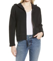 women's tommy bahama belle haven zip-up hooded cardigan, size x-large - black