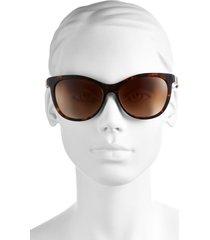 burberry 58mm check detail sunglasses in dark tortoise at nordstrom