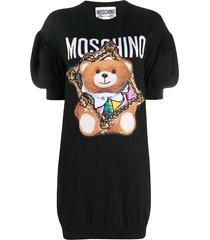 moschino teddy bear frame knitted dress - black