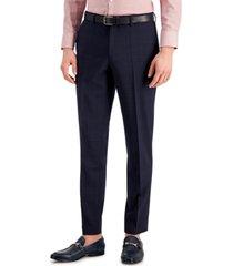 hugo hugo boss men's slim-fit superflex stretch dark blue micro-plaid wool suit pants
