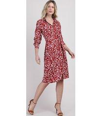 vestido chemise feminino midi estampado floral manga longa vermelho escuro