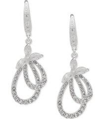 anne klein crystal navette & pave loop drop earrings