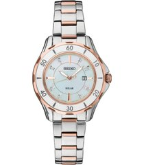 seiko women's solar dress sport diamond-accent two-tone stainless steel bracelet watch 33mm