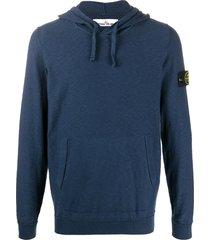 stone island logo drawstring hoodie - blue