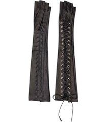 manokhi lace-up fingerless gloves - black