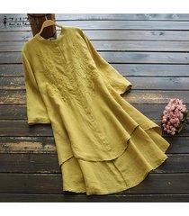 zanzea camisas bordadas para mujer vestido asimétrico alto bajo mini vestido tallas grandes -amarillo