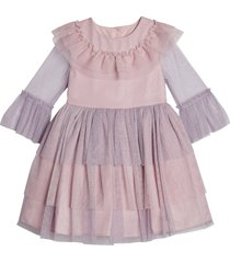 toddler girl's pippa & julie long sleeve shimmer tiered tutu dress, size 2t - purple