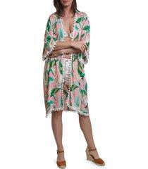 lulla collection by bindya women's tropical-print kimono coverup - pink green