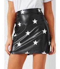 yoins minifalda de cuero sintético de cintura alta con cierre negro galaxy