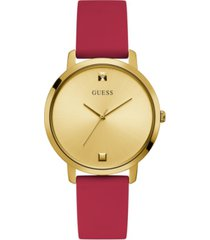 guess women's red gold diamond silicone watch 30mm