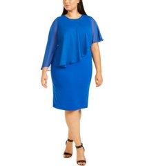 calvin klein plus size chiffon popover dress