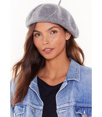 womens beret cold outside faux wool beret - grey