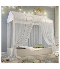 cama casinha montessori solteiro com mosquiteiro branco casah