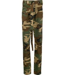 unravel project belted camouflage trousers - green