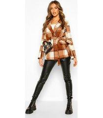 flannel tailored wool look coat, brown