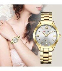 reloj casual mujer curren elegante acero análogo fechador