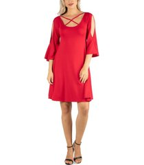 24seven comfort apparel women's knee length cold shoulder dress