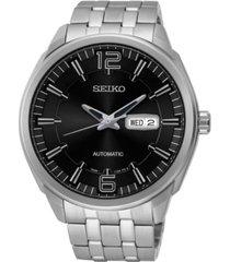 seiko men's black stainless steel bracelet watch 44.5mm