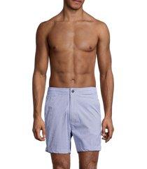 onia men's calder pinstripe swim shorts - surf blue - size xxl
