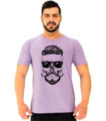 camiseta tradicional gola redonda alto conceito caveira bigode francãªs roxo beb㪠- roxo - masculino - algodã£o - dafiti