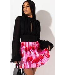 akira flamingo pleated mini skirt