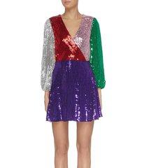 'blaze' colourblock sequin dress