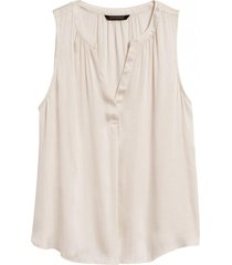 blusa sl soft satin top blanco banana republic