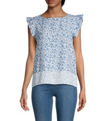 saks fifth avenue women's printed ruffle sleeve top - white blue - size l
