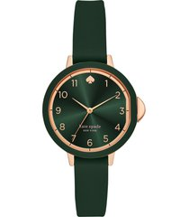 kate spade new york park row silicone strap watch, 34mm in green/rose gold at nordstrom