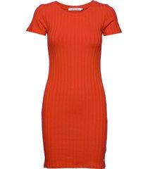rib ss dress kort klänning orange calvin klein jeans