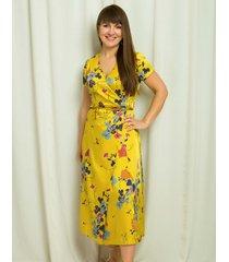 sukienka musztardowa w kwiaty