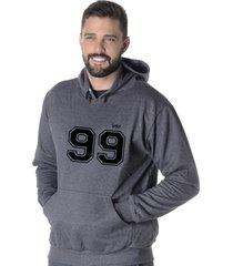 moletom blusão flanelado suffix fechado liso com capuz bolso canguru cinza escuro chumbo estampa 99