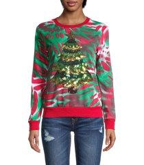 miss chievous women's sequin christmas tree tie-dye sweatshirt - red green - size s