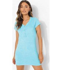 ofcl badstoffen pyjama jurk met knopen en geweven label, blue