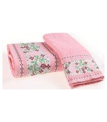 jogo de toalha banho e rosto algodáo 340g/m² barra jacquard floriza  charm - bene casa