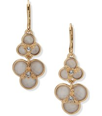 anne klein gold-tone pave & mother-of-pearl flower double drop earrings