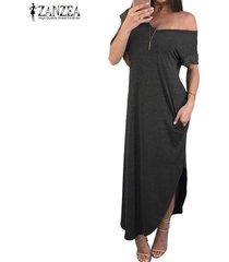 zanzea mujeres con cuello en v con hombros largo vestido de tubo liso partido gowm kaftan -gris