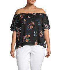 plus floral-print off-the-shoulder top