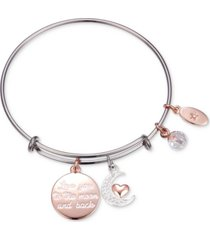 "unwritten ""love you to the moon"" multi-charm adjustable bangle bracelet in stainless steel with silver plated charms"