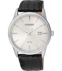 citizen men's quartz black leather strap watch 39mm bi5000-01a