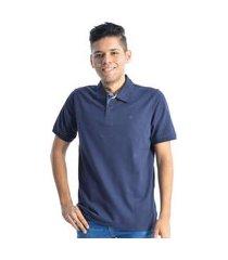 camiseta masculina gola polo manga curta ogochi azul marinho