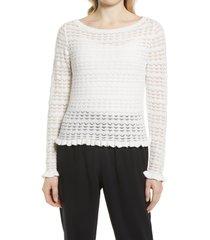 women's halogen boatneck pointelle sweater, size x-small - white