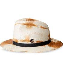 maison michel bettina tie-dye fedora straw hat - white